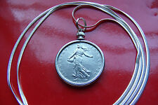 Paris Minted French Franc Sunrise Girl Coin Jewelry, Silver Herringbone Chain