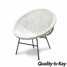 Vtg Mid Century Modern White Rattan Wrought Iron Hoop Tiki Cane Lounge Chair
