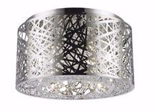 "6-LED Light Chrome Finish D 16"" x H 8"" Aramis Crystal Ceiling Light LED Round"