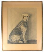 A 1940s charcoal portrait of an Airedale Terrier Scandinavian Signed E.Rasmussen