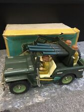 Vintage Metal Toy Anti Aircraft Green Jeep SS Japan MINT In Box Friction Vehicle