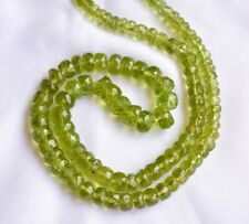 Natural Peridot Faceted Rondelle Gemstone Beads 5MM To 7.5MM 16 Inches Strand