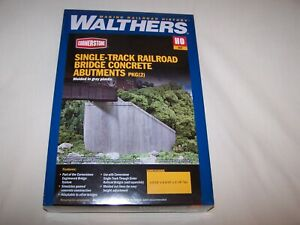 Walthers Single-Track Railroad Bridge Concrete abutments 933-4551 Pkg of (2)