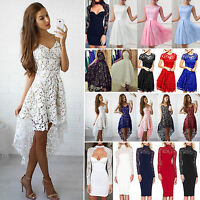 Womens Lace Mini Dress Cocktail Evening Party Wedding Summer Beach Boho Dresses