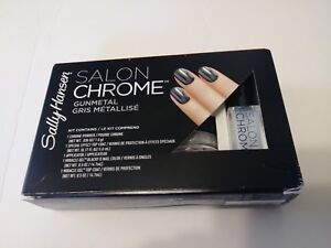 Sally Hansen Salon Chrome 5 Piece Gel Nail Polish Kit Gunmetal Gris Metallise