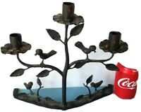 Antique/VTG Wrought Iron Candle Holder Birds Table Stand Wall Sconce Primitive