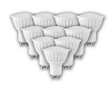 Confezione da 10 GU10 4W LAMPADINE LED BIANCO CALDO 2700K (equiv. ALOGENE DA 32W)