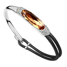 18K White Gold Plated Bangle Bracelet made With Swarovski elements Crystal