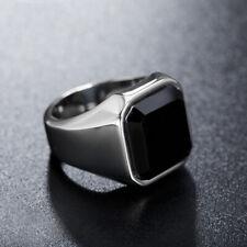 Silver Stainless Steel Signet Rings Black Agate Wedding Ring for Men Biker Band