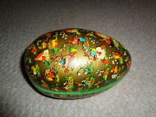 Large West Germany paper papier mache egg container candy holder rabbits chicks