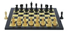 """Leningrade Series Staunton 4"""" Ebonised Chess Pieces with Chess board"""