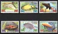 Peces Benin (49) serie completo de 6 sellos matasellados