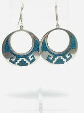 Fabolous Mexican Turquoise Mosaic Inlay Drop Earrings 925 Solid Silver #13111