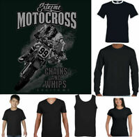MOTOCROSS T-SHIRT Mens Extreme MotoX Motorcycle T-Shirt Dirt Bike Scrambler Top