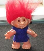 """VINTAGE DAM 1986 TROLL DOLL WITH RED HAIR DRESSED IN PURPLE FELT TUNIC 4.5"""""""