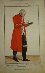 BELLE GRAVURE COULEUR PORTRAIT COSTUME THEATRE HOMME MODE COMEDIE 1820