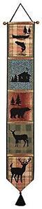 Tapestry Bell Pull Manual Bear Cabin Deer Wall Decor Lodge Rustic Wildlife New
