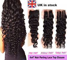 "4x4"" Deep Wave Curly Hair Parting Lace Top Closure 7A Virgin Brazilian Remy Hair"