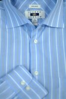 Joseph Abboud Men's Blue White Stripe Cotton Dress Shirt 16 x 35