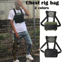 Unisex Chest Rig Bag Canvas Tactical Streetwear Shoulder Front Backpack Hip Hop