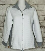 Zenergy by Chicos 2 Jacket Zip Up Quilted Pockets Athleisure White Gray Sparkle