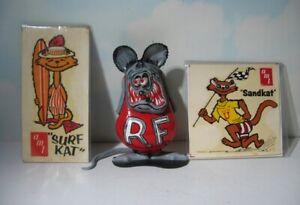 Vintage Revell Rat Fink built model  & old  AMT Sand Kat & Surf Kat decals  1964