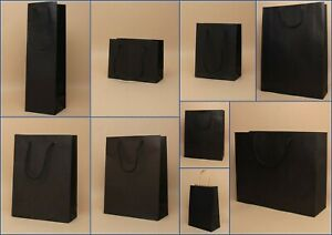Black Gift Bags Kraft Paper 12pk Present Shop Loot Party Occasion Christmas