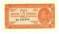 Yugoslavia ... P-51b ... 20 Dinara ... 1944 ... Gem *UNC* Baroque Style Serial #