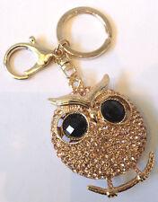 Rhinestone Bing Gold-Tone Hoot Owl Key Chain Fob Purse Charm