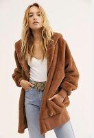 Free People Coat Jacket Zip Hooded Faux Fur Teddy Longline Slouchy Brown M NWT