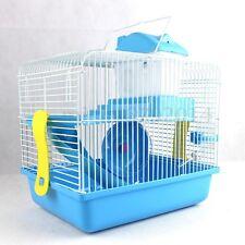 Hamster Gerbil Mouse Cage 2 Storey Levels Floor House w/Wheel Slide Water Bottle