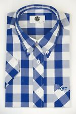 Art Gallery Clothing - Short Sleeve Fitted Shirt- Blue Gingham XS  Mod Sixties