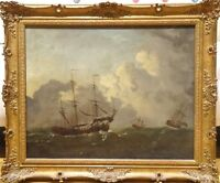 Fine 17th Century Dutch Old Master Ships Sailing Marine Antique Oil Painting