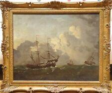 Fine 17th century Dutch Old Master bateaux naviguant marine antique Peinture à l'huile