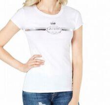 Guess Women's Knit Top White Size Small S Logo Graphic Metallic Print 492