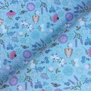 Queen bee honeycomb hives flowers Lewis & Irene 100% cotton fabric crafts kids