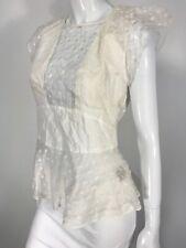 Isabel Marant Short Sleeve Peplum cotton silk blouse sz 38 White Sheer  250