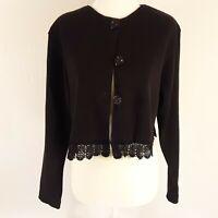 Vintage DONNA TORAN Womens Med Black Lace Trimmed Crop Jacket Top Waffle Weave