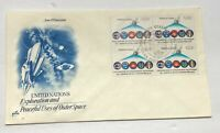 United Nations Exploration of Outer Space First Day Issue Postal Cover FDC Block
