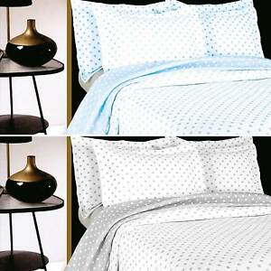 Grey or Blue Polka Dot Spot Bedspread or Pillowsham