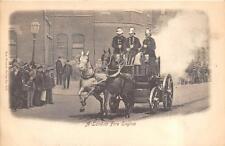 HORSE DRAWN FIRE ENGINE LONDON ENGLAND UK POSTCARD (c. 1910)