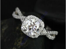 Solitaire Diamond Engagement Ring Round 14K White Gold Over Infinity Band 2Ct
