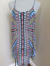 New OP juniors size XL 15-17 Swim Suit Cover Up Dress Tribal Blue Peach White