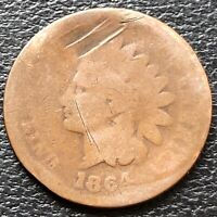 1864 Indian Head Cent 1c Circulated With L #26762
