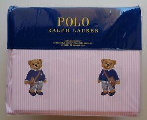 POLO Ralph Lauren Girl Teddy Bear KING Pink Stripe Sheet Set Cotton 4 PCS NEW