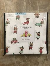 Cynthia Rowley FULL 4 Pc Sheet Set Dogs In Sweaters Hats Dachshund Weiner NEW
