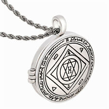 Alchemy Talisman Good Luck Key of SOLOMON Pentacle Seal Locket Pendant Necklace