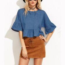 Fashion Ruffled Sleeve Blouse Tops Women Casual Denim T-shirts Loose Crop Tops