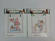 2 Vintage Daisy Kingdom Bucilla Stamped Cross-Stitch Santa Samplers 63450 63447