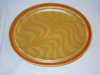 """Independence Stoneware Interpace 13 1/2"""" Light Brown Oval Platter Japan"""